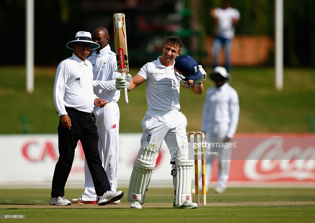 James Taylor of England celebrates his century score during day one of the tour match between South Africa Invitational XI and England at Senwes Park on December 15, 2015 in Potchefstroom, South Africa.