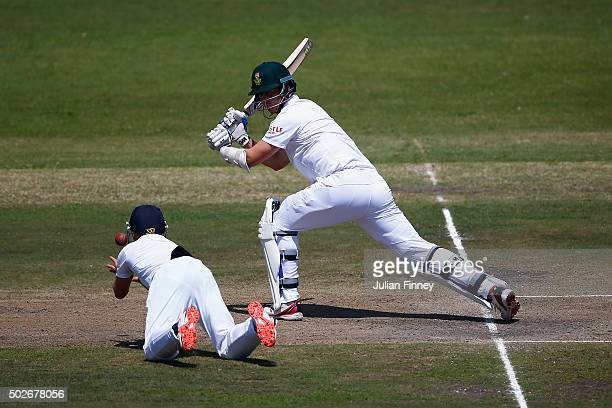 James Taylor of England goes to catch out Kyle Abbott of South Africa off the bowling of Moeen Ali of England during day three of the 1st Test...