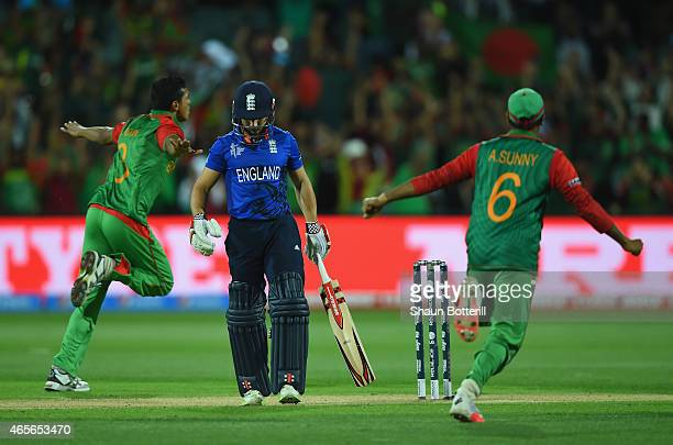 James Taylor of England heads back to the dressing room after losing his wicket to Taskin Ahmed of Bangladesh during the 2015 ICC Cricket World Cup...