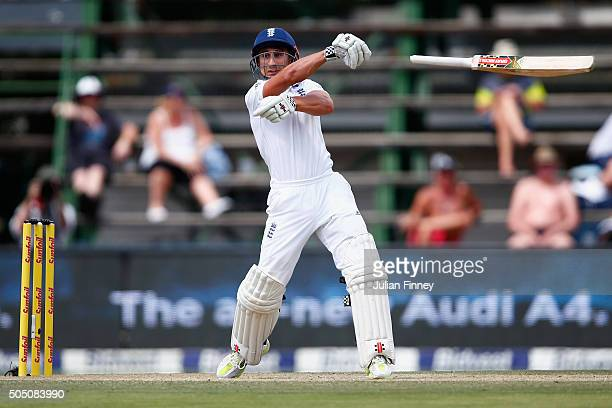James Taylor of England lets go of his bat whilst trying to play a shot during day two of the 3rd Test at Wanderers Stadium on January 15 2016 in...