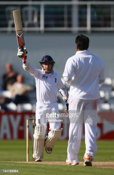 James Taylor of England Lions celebrates his century during day two of the tour match between England Lions and West Indies at The County Ground on...