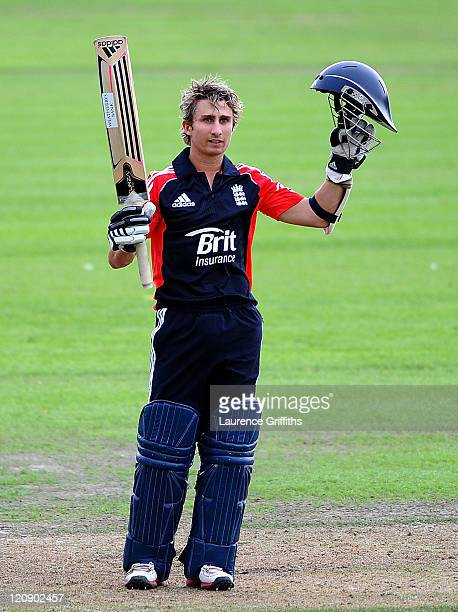 James Taylor of England Lions celebrates scoring a century during the One Day International match between England Lions and Sri Lanka A at New Road...