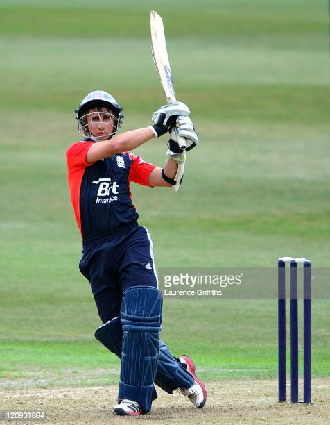 James Taylor of England Lions hits out to the boundary during the One Day International match between England Lions and Sri Lanka A at New Road on...