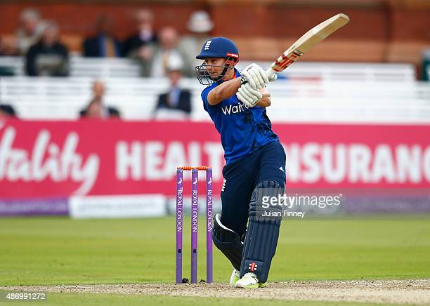 James Taylor of England plays to the off side during the 2nd Royal London OneDay International match between England and Australia at Lord's Cricket...