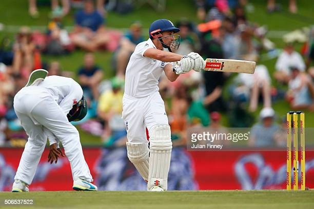 James Taylor of England swings and is caugh behind off Kagiso Rabada of South Africa's bowling during day three of the 4th Test at Supersport Park on...