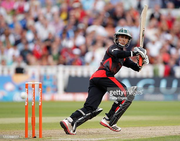 James Taylor of Leicestershire picks up some runs during the Friends Life T20 semi final match between Leicestershire and Lancashire at Edgbaston on...