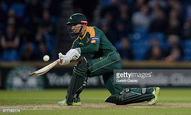 James Taylor of Nottinghamshire bats during the NatWest T20 Blast match between Yorkshire and Nottinghamshire at Headingley on June 19 2015 in Leeds...