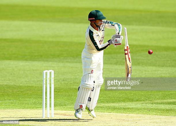 James Taylor of Nottinghamshire drops his bat as he hits out during day one of the LV County Championship Division One match between Middlesex and...