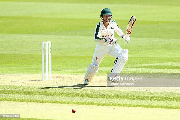 James Taylor of Nottinghamshire hits out during day one of the LV County Championship Division One match between Middlesex and Nottinghamshire at...