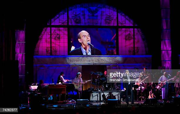 James Taylor performs during the Library Of Congress Gershwin Prize For Popular Song Gala at the Warner Theater May 23 2007 in Washington DC Paul...