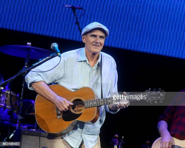 James Taylor performs in concert during the 'Texas Strong Hurricane Harvey Can't Mess With Texas' benefit at The Frank Erwin Center on September 22...