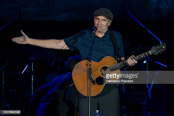 James Taylor performs on stage during Lucca Summer Festival at Piazza Napoleone on July 20 2018 in Lucca Italy