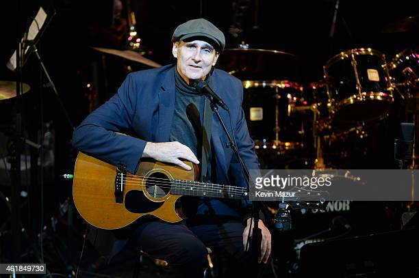 James Taylor performs onstage during the 'Nearness of You' Concert to Benefit Cancer Research at Frederick P Rose Hall Jazz at Lincoln Center on...