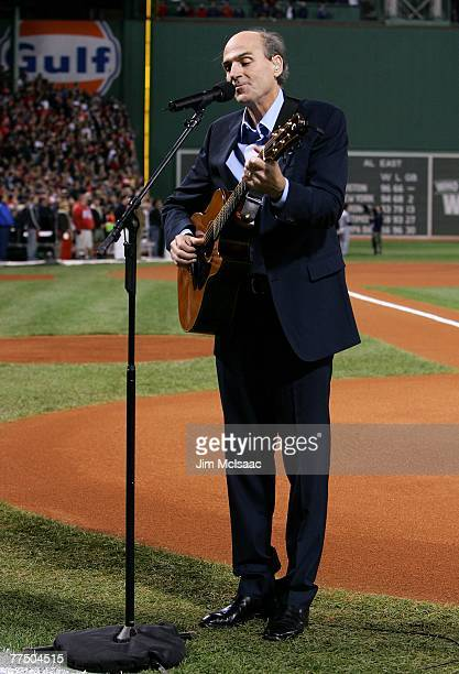 James Taylor performs the national anthem before the Boston Red Sox take on the Colorado Rockies during Game Two of the 2007 Major League Baseball...