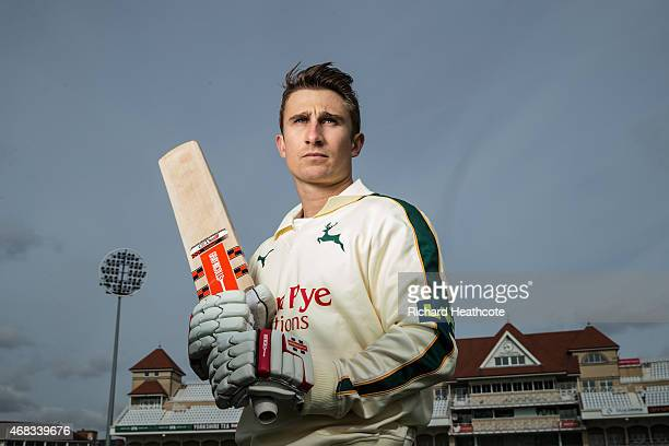 James Taylor poses for a portrait during the Nottinghamshire County Cricket Photocall at Trent Bridge on April 2 2015 in Nottingham England