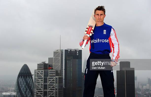 James Taylor practices some shots at the top of Broadgate Tower in the City of London ahead of the Ashes moving to the capital this Thursday on July...