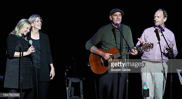 James Taylor second from right performed a concert at the Citi Emerson Colonial Theatre in support of the candidacy of Elizabeth Warren second from...