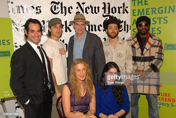 James Taylor with emerging artists during James Taylor Hosts The New York Times Emerging Artist Series at Joes Pub in New York City New York United...