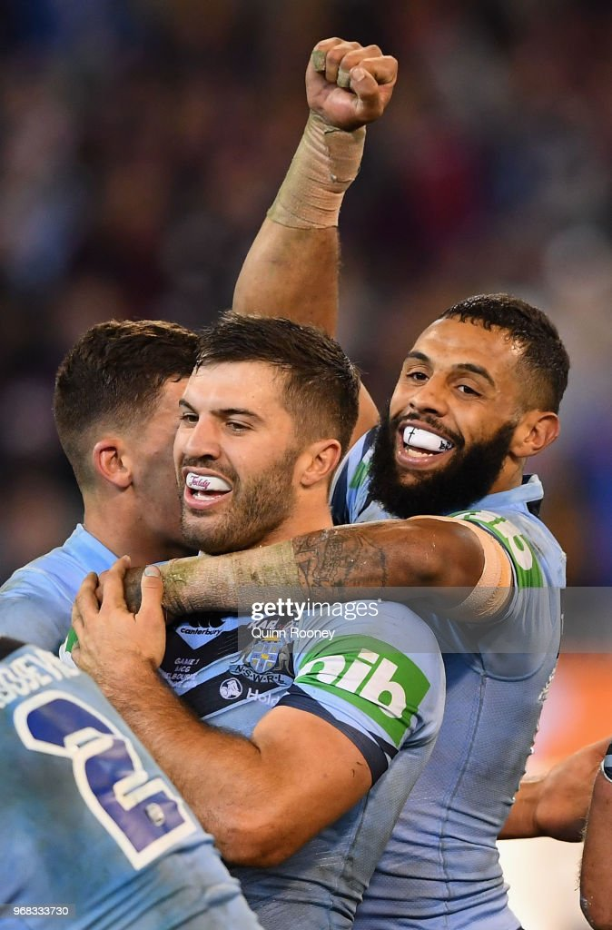 James Tedesco and Josh Addo-Carr of the Blues celebrate winning game one of the State Of Origin series between the Queensland Maroons and the New South Wales Blues at the Melbourne Cricket Ground on June 6, 2018 in Melbourne, Australia.