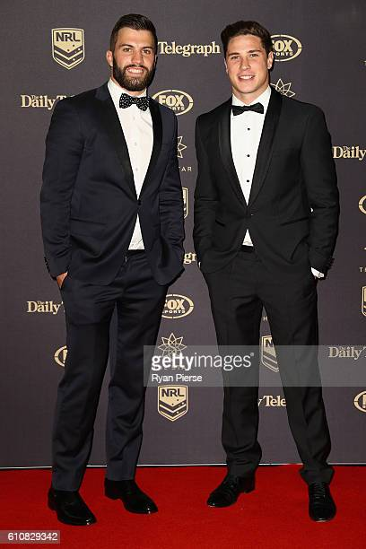 James Tedesco and Mitchell Moses of the Wests Tigers arrive at the 2016 Dally M Awards at Star City on September 28 2016 in Sydney Australia