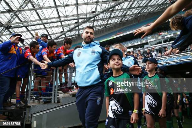 James Tedesco arrives during the New South Wales Blues State of Origin Team Announcement at ANZ Stadium on July 2 2018 in Sydney Australia