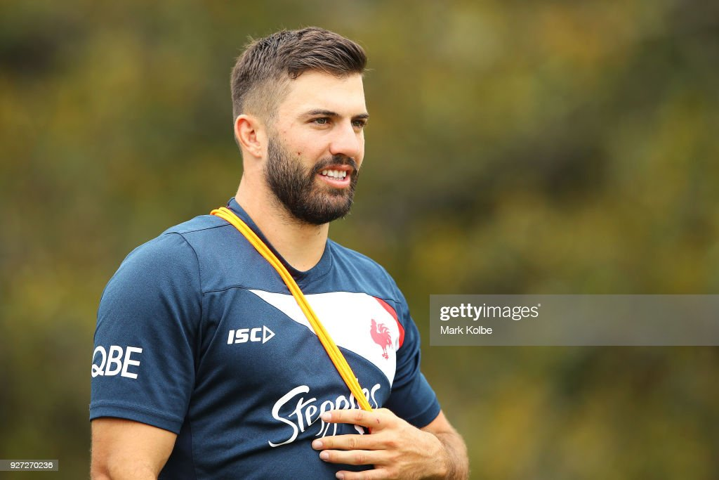 James Tedesco arrives for a Sydney Roosters NRL training session at Kippax Lake on March 5, 2018 in Sydney, Australia.