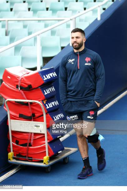 James Tedesco arrives icing his knee during a Sydney Roosters NRL training session at Allianz Stadium on September 24 2018 in Sydney Australia