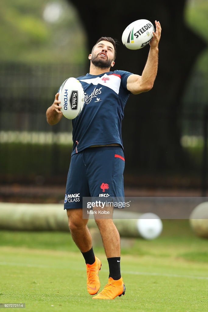 James Tedesco catches a kick during a Sydney Roosters NRL training session at Kippax Lake on March 5, 2018 in Sydney, Australia.