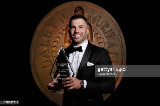James Tedesco holds his award during the 2019 Dally M Awards at Hordern Pavilion on October 02, 2019 in Sydney, Australia.