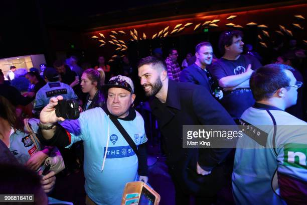 James Tedesco interacts with fans during a New South Wales Blues public reception after winning the 2018 State of Origin series at The Star on July...