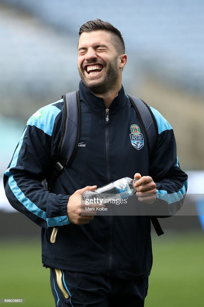 James Tedesco laughs as he arrives during a New South Wales Blues State of Origin captain's run at ANZ Stadium on June 20, 2017 in Sydney, Australia.