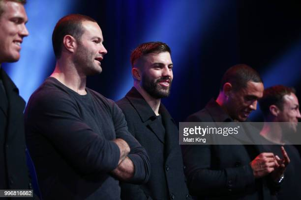 James Tedesco looks on during a New South Wales Blues public reception after winning the 2018 State of Origin series at The Star on July 12 2018 in...