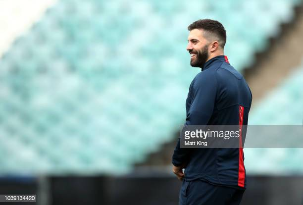James Tedesco looks on during a Sydney Roosters NRL training session at Allianz Stadium on September 24 2018 in Sydney Australia