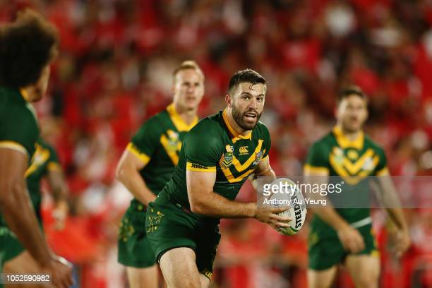 James Tedesco of Australia in action during the International Test match between Tonga and Australia at Mount Smart Stadium on October 20 2018 in...