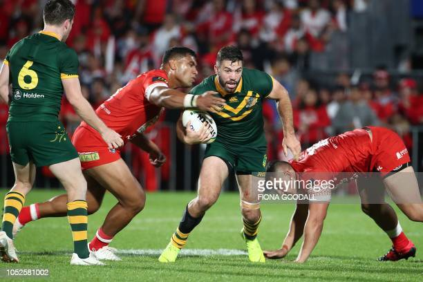 James Tedesco of Australia looks for the try line during the rugby league international Test match between Australia and Tonga at Mt Smart Stadium in...