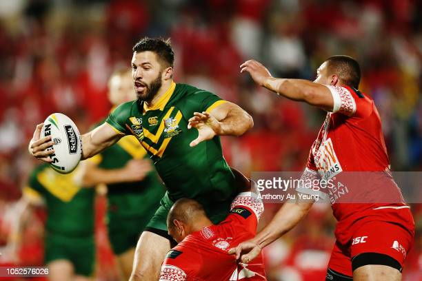 James Tedesco of Australia on the charge during the International Test match between Tonga and Australia at Mount Smart Stadium on October 20 2018 in...