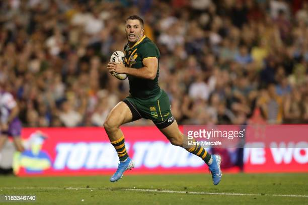 James Tedesco of Australia scores a try during the International Rugby League Test Match between the Australian Kangaroos and the New Zealand Kiwis...