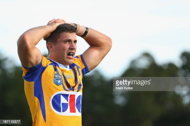 James Tedesco of City looks dejected during the Origin match between City and Country at BCU International Stadium on April 21 2013 in Coffs Harbour...