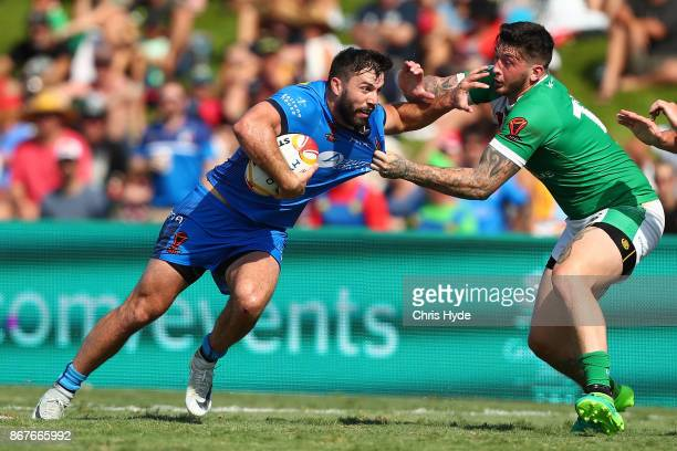 James Tedesco of Italy runs the ball during the 2017 Rugby League World Cup match between Ireland and Italy at Barlow Park on October 29 2017 in...
