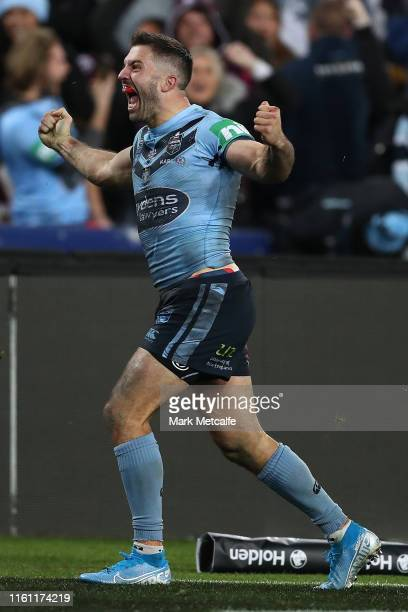 James Tedesco of the Blues celebrates scoring the match winning try during game three of the 2019 State of Origin series between the New South Wales...