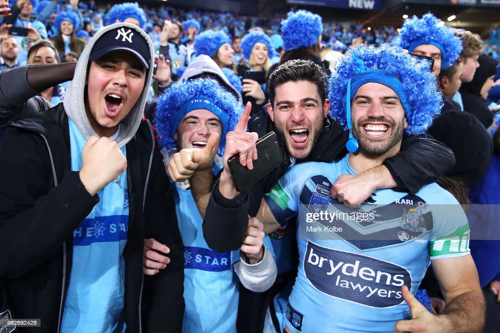 James Tedesco of the Blues celebrates with the crowd after victory in game two of the State of Origin series between the New South Wales Blues and the Queensland Maroons at ANZ Stadium on June 24, 2018 in Sydney, Australia.