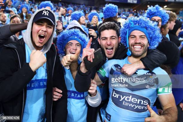 James Tedesco of the Blues celebrates with the crowd after victory in game two of the State of Origin series between the New South Wales Blues and...