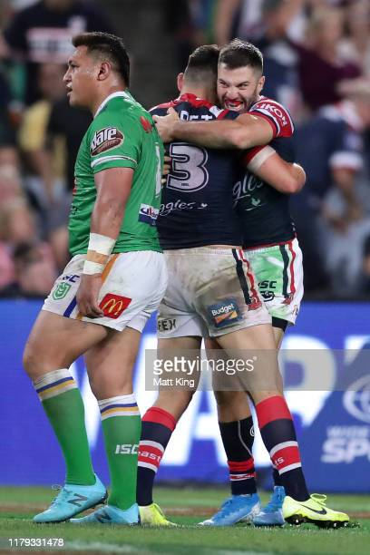 James Tedesco of the Roosters celebrates scoring a try during the 2019 NRL Grand Final match between the Canberra Raiders and the Sydney Roosters at...