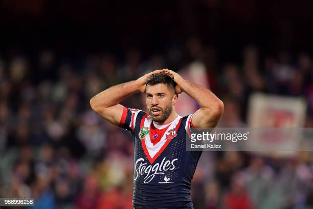 James Tedesco of the Roosters looks on dejected during the round 16 NRL match between the Sydney Roosters and the Melbourne Storm at Adelaide Oval on...