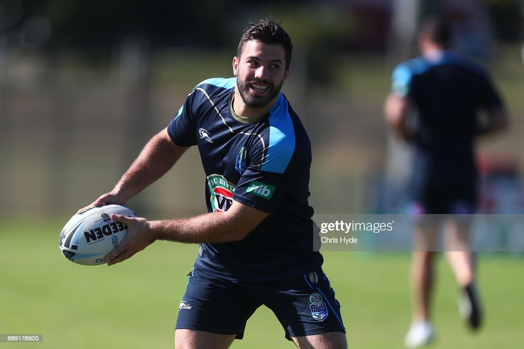 James Tedesco passes during a New South Wales Blues Origin training session at Cudgen Leagues Club on May 28, 2017 in Kingscliff, Australia.