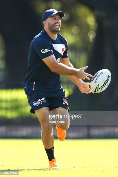 James Tedesco passes during a Sydney Roosters Training Session at Kippax Oval on March 12 2018 in Sydney Australia
