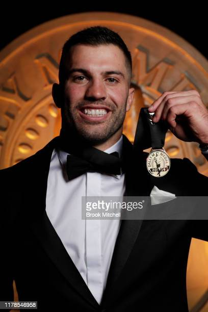 James Tedesco poses with the Dally M medal after winning 2019 Player of the Year during the 2019 Dally M Awards at Hordern Pavilion on October 02,...