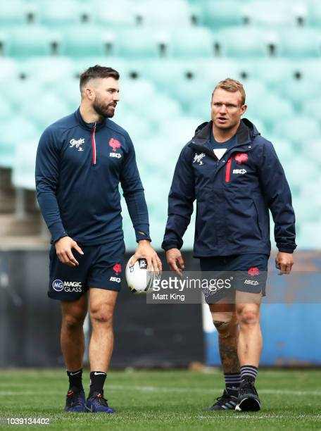 Latrell Mitchell and Luke Keary arrive at a Sydney Roosters NRL training session at Allianz Stadium on September 24 2018 in Sydney Australia