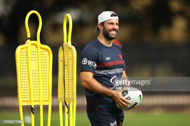 James Tedesco warms up during a Sydney Roosters NRL training session at Kippax Lake Field on May 07, 2020 in Sydney, Australia.