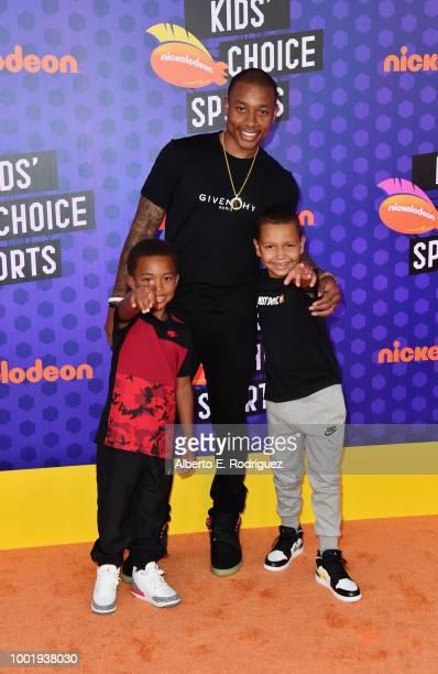 James Thomas NBA player Isaiah Thomas and Jaiden Thomas attend the Nickelodeon Kids' Choice Sports 2018 at Barker Hangar on July 19 2018 in Santa...